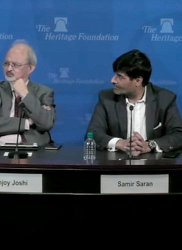 "A screenshot from video of the Heritage Foundation event titled, ""The New India-U.S. Partnership in the Indo-Pacific: Peace, Prosperity and Security"""